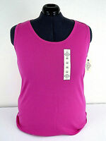 """ST JOHN'S BAY Size 2X Pink Tank Top Cotton Sleeveless Top 45"""" Chest NEW w TAGS"""
