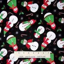 FLANNEL Fabric - Timeless Treasures Christmas Snowman Toss on Black CF3450