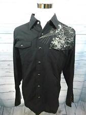 Machine Mens Medium Black Shirt Cotton Long Sleeve Snap Front Button up