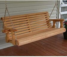 Amish Heavy Duty 800 Lb Roll Back 5ft. Treated Porch Swing with Cupholders - Ced