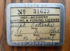 1957 New Hampshire Res. Hunting & Fishing License in Pin Back Carrier No.31629