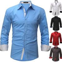 Hommes T-shirt décontracté à manches longues formel décontractées hauts Chemises