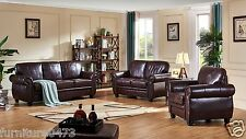Burgundy Leather 3 Seater or 2 Seater or Armchair, Footstool Sofa Suite HIGHBURY