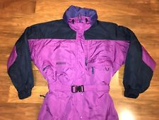 Purple COLUMBIA Womens Medium SKI SUIT Snow Bib One piece Coat vtg 90s Snowsuit