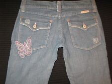 Frankie B Jeans Low Flare w Pink Crystal Butterfly Flap Pocs Sz 4