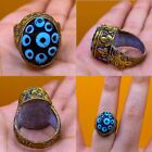 LOVELY ANTIQUE ISLAMIC OTTOMANS GOLD GILDING RING WITH MOSIAC STONE 7 US