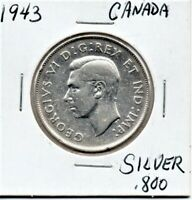 Canada 50 Cent Silver Coin 1943 King George VI As Pictured