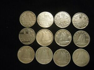 56 silver Canadian dimes 1907-1964