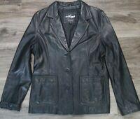 Wilsons Maxima Black Leather Long Jacket Womens Size Large Button EUC