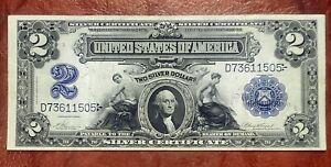 1899 $2 SILVER CERTIFICATE ~MINI PORTHOLE WASHINGTON CAMEO CHOICE EXTREMELY FINE