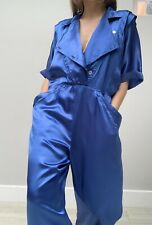Vintage 80s Satin Like Midnight Blue Double Breasted Jumpsuit