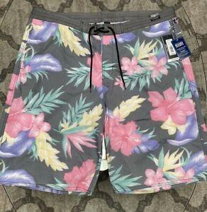 Roundtree York Floral Swim Cruise Swimwear Board Shorts Mens Sz 44 Waist NWT$59