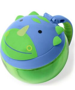 Skip Hop Zoo Dino Blue Snack No Spill Cup Kids Babies Feeding Handle and Lid
