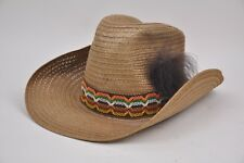 59015311aa2 Vintage 70 s BRONCO BUSTER Straw Hat Natural Rodeo Feather Tall Crown Cowboy  8