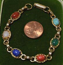 """Vintage Scarab Beetle Link Green Blue Pink Cab Gold Tone 7"""" Bracelet 7N 21"""