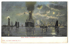 New York Harbour At Night PPC, 1905 PMK to Haslemere, GB, Fred Pansing Artist