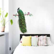 3D Vivid Wall Decals Animals Peacock On Branch Feathers Wall Stickers Home Decor
