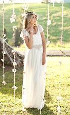 Short Sleeve BOHO Lace Chiffon Summer White Beach Wedding Dresses custom UK 8 10
