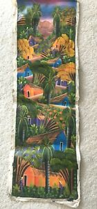 Colorful 38 x 12 Oil Painting On Canvas Caribbean Art