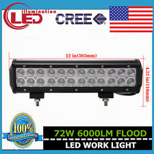 12inch 72W LED Light Bar CREE Flood Lamp Offroad Driving Jeep Ford Truck 12V 24V