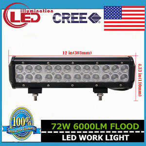 12inch 72W LED Light Bar Flood Lamp Offroad Driving Ford Truck 12V 24V Vehicle