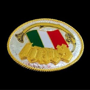 Pewter Western Belt Buckle Italian National Flag of Italy Buckles