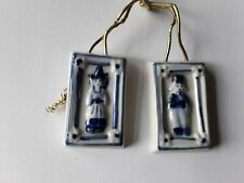 Vintage Delft Miniature Picture Ceramic Wall Hangings Dolls House Boy & Girl