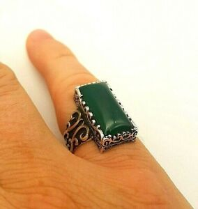 GREEN AGATE 925 STERLING SILVER MENS WOMENS RING SIZE 10.5