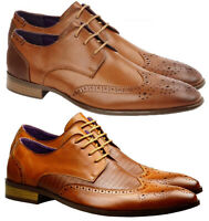 Mens Faux Leather Shoes Smart Formal Wedding Office Lace Up Brown Tan Brogues