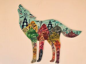 Howard Finster Signed Original Howling Wolf Dogs Outsider Folk Art Wood Cut Out