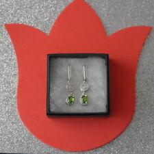 Beautiful Green Peridot & White CZ. 925 Silver Earrings 4.9 Gr.4 Cm. Long In Box