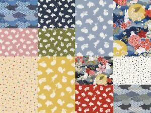 NEW The Moon Rabbit Oriental Floral Paintbrush Studio Asian Pastel Quilt Cotton