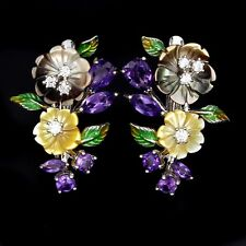 Deep Purple Amethyst Mother of Pearl & White cz .925 Silver Enamel  Earring