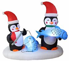 6 Foot Long Christmas LED Inflatable Penguin Fishing Yard Party Decoration Decor