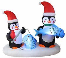 6 Foot Long Christmas LED Inflatable Penguin Fishing Yard Party Decoration Decor