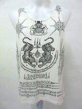TWIN TIGER POWERFUL MUSCLE L TALISMAN TATTOO MEN SINGLET SAK YANT TANK TOP VEST