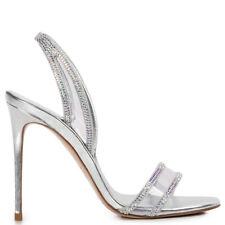 Le Silla Sandal Divine 4 11/32in Silver With Details Plexi and Swarovski 160LS
