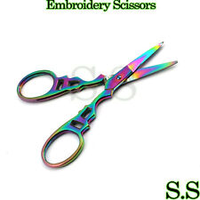 "Multi Titanium Color Rainbow Sewing Craft Embroidery Scissors 3.5"" Victorian Sty"