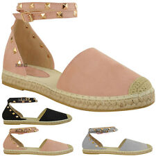 Womens Ladies Studded Espadrilles Flats Ankle Strappy Sandals Girls Shoes Size