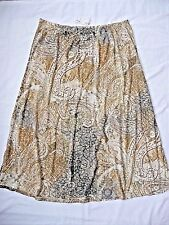 "AVENUE Skirt NWT 22 24 A-Line Brown Grey Paisleys Pattern Elastic Waist 37"" LONG"