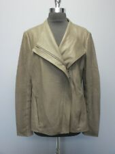 T TAHARI Clay Brown Leather Long Sleeve Solid Lined Zip Front Jacket Sz L EE4329