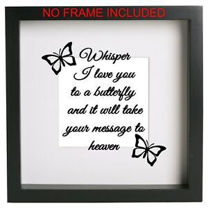 Whisper I love you to a butterfly Box Frame Sticker Quote Decal. Ribba memory