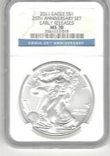 2011 Silver Eagle $1 25th anniversary set MS 70 Early Releases ngc