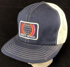 Vtg 80s Mesh Trucker Hat Snapback Patch Cap Realty World Real Estate Globe Logo
