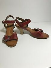 New Naya Tawny Sandals Red Leather Bamboo Heels Sz 6.5M Ankle Strap