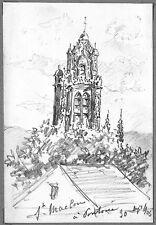 LÉON BERVILLE DESSIN ORIGINAL 1906 PONTOISE Église Saint-Maclou Val-d'Oise