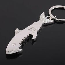 Creative Beer Bottle Opener Keychain Key Ring Shark Shaped