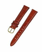 16mm Standard-Brown Alligator Grain Leather Watch Band - Unisex