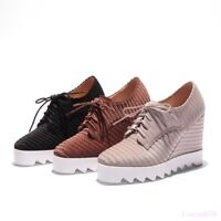 Fashion Women's High Wedge Heel Shoes Pumps Lace Up Platform Creeper Suede New