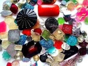200 Stk. Cabochon Mosaik Bastelset Bunte Acryl Glaskuppel Rund Oval Dekoration